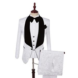 White Emboried Men Suit Wedding Suit Jacket Slim Fit Male Wedding Tuxedo High Quality Formal Party Suits Blazer(Jacket+Vest+Pants)