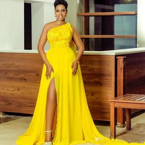 African Yellow Chiffon Prom Dresses Long One Shoulder A-line High Split Evening Gowns With Appliques Beads Formal Party Dresses