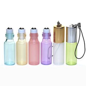 5ML Pendant Pearl Lustre Color Metal Roller Ball Bottle Essential Oil Empty Perfume Glass Vials Key Chain LX5113