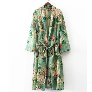 X192 women vintage floral print green color long design jacket kimono outwear ladies summer double pockets with belt jackets top Y201001