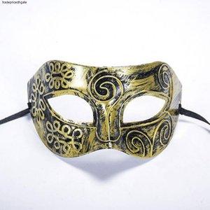 Maske Halloween Factory Outlet Silber Gold Neue Bronze Römische Männer Halbgesicht Flache geschnitzte venezianische Maske