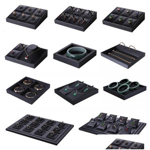 Superior Black Pu Leather Ring Jewelry Display Tray Insert Charm Pendant Earring Accessories Bracelet Storage Stand Holder Shelf K4Kq5