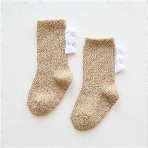Kids Socks Winter Coral Fleece Socks Dinosaur Cartoon Stockings Thick Warm Indoor Floor Glue Antiskid Baby Kids Clothing SEA YYS5002