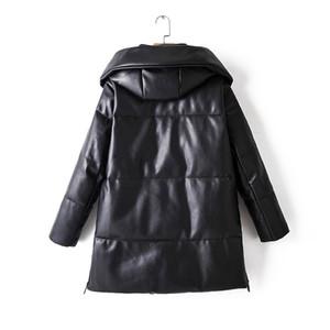 Winter Hooded Padded PU parka women Faux leather down jacket female loose zipper overcoat casual warm long coats 2020