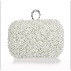 Evening Bags Luxury Beaded Women Diamonds Finger Rings Small Purse Day Clutches Handbags White Black Pearl Wedding WY57