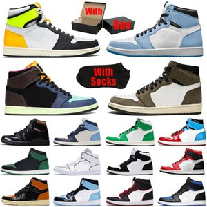 retro travis scott Dark Mocha 1 1s jumpman men women basketball shoes Lucky Green Tubro pine unc Obsidian Chicago Athletic mens trainers sports sneakers