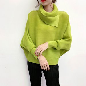 LANMREM New Scarf Collar Batwing Sleeves Pullover Twice Pleated Thickness Loose autumn Sweatshirt WJ74304 201008