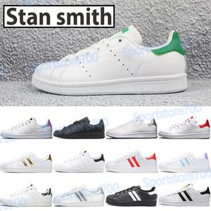 Stan Smith verde blanco plata metálica zapatos casuales para hombre superestrellas blanco iridiscente universidad de la cebra roja negro mujeres de los hombres zapatillas de deporte de moda