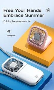 3000 mAh Asılı USB Mini Fan Handys-Ücretsiz Boyun Katlanabilir Taşınabilir Soğutma Fanlar Açık Hava Soğutucu Klima