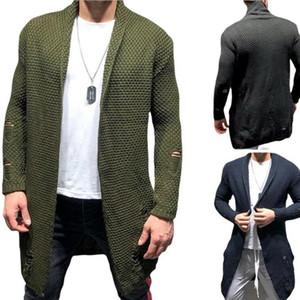 Мужчины Джемпер с длинным рукавом Hole Повседневный стиль свитера отверстия Mens средней длины кардиган свитер Трикотаж с 3-х цветов