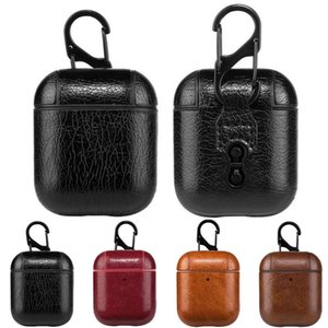 Кожаные абоходы Case для AirPods PU Protector Cover Fashion Anti Club Hook Clasp Beychain для Air Pods AirPod Count Phone Case