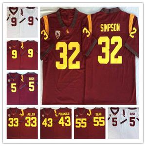 2020 USC Trojans Vintage Jersey # 5 Reggie Bush 32 OJ Simpson Allen 9 Kedon Slovis 43 Troy Polamalu 55 Junior Seau Koleji Futbol Formaları