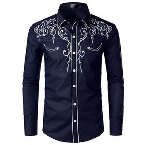 Männer Stilvolle Western-Cowboy-Hemd Stickerei Slim Fit beiläufige T-Shirts Wedding Party-Hemd für Männer