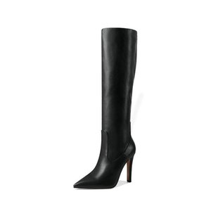 Boots Women Fashion High Heels Knee Faux Leather Pointed Toe Thin Heel Winter Female Size 41 42 43