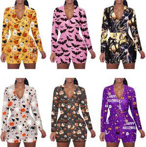 Mulheres macacão romper Padrão de Halloween Impressão de mangas compridas shorts home jumpsuits Caroon Bat Ghost Abóbora Siamese Calças D102302