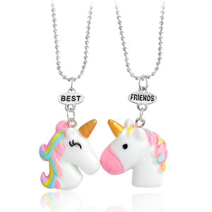 2pcs / set del cavallo ciondolo collana Best Friends Animal catene collana portachiavi di Keychain chiave per Friends BFF monili del regalo per i bambini