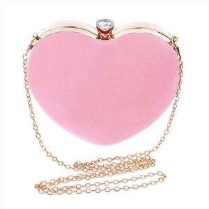 Evening Bags LJL Women Girls Heart Shape Handbag Evening Party Tote Purse Pink Drop Shipping Good Quality