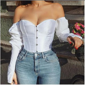 Spring Autumn Fall Blouse Women Lady Sexy Off Shoulder Shirt Fashion Back Bandage Slim Bustier Female Leotard Corset Solid Tops