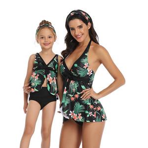 새로운 도매 부모 - 자식 수영복 배꼽을 덮을 한 어깨 조끼가 슬리밍 비키니 조끼 스타일 높은 허리 메쉬 성인 어린이 수영복