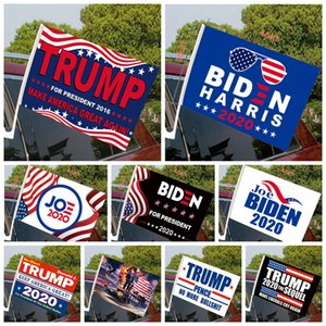 30*45cm Car Window Flag 2020 America President Election Biden Trump Flag US Presidential Election Car Window Flags with Flagpole ljjp64