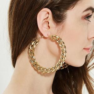 후프 Huggie 큰 서클 라운드 골드 귀걸이 여성용 여자 꼬인 체인 금속 패션 파티 쥬얼리 선물 1