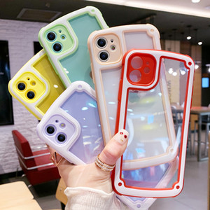iPhone doces cores Limpar Phone Case For Cover Transparente 11 Pro Max X XR XS Max 6 6S 7 8 Plus à prova de choque Bumper Silicone Quadro
