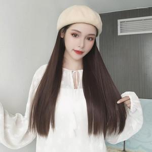Gorra de béisbol de Yyoufu con cabello largo ondulado de pelo falso sombrero de peluca Extensiones sintéticas sombrero con hombro natural para mujeres1