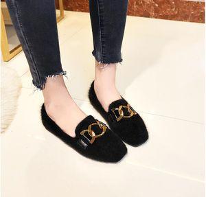 New autumn winterMetal Chains Fur Flats Women shoes Ballerina Winter Plush Shoes for Women Warm plush Loafers