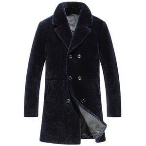Men's Winter Jacket Real Men Shearling Wool Coat Luxury Jackets Male Long Coats Natural Fur Erkek Mont KJ797