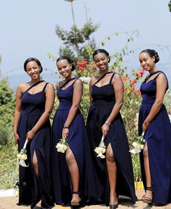 one shoulder Bridesmaid Dresses long Simple sexy slit African Country Wedding Guest Gowns Maid Of Honor Dress Plus Size L98