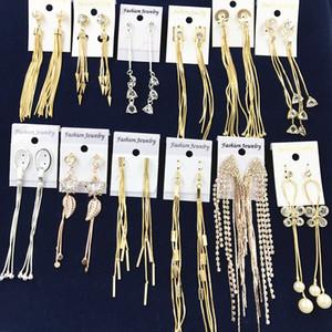 Designer Tassel earrings Long Dangling Drop earrings Gold Silver Earrings quilling Austrian Crystal Bar Party Wedding Jewelry Mix DHL