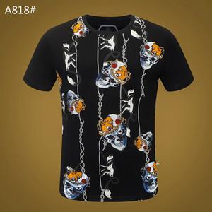 Mens Skull T-shirt Summer Basic Solid crystal Casual T Shirts Punk print letter tops Tee man fashion clothing short sleeve 100% Cotton M-3XL