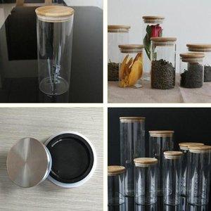 Cozinha transparente canisters de vidro jar as rolhas de armazenamento cobrem frascos de frascos para alimento líquido de areia garrafas de vidro amigável de eco com bambu cce4241