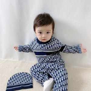 Новое прибытие новорожденных Baby Rompers Младенческие мальчики девочек вязание комбинезон одежды зима вязаные малыши детские комбинезоны с шляпой
