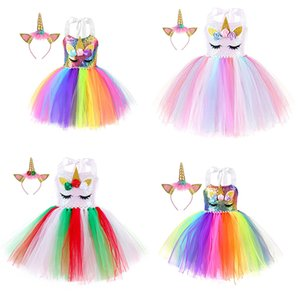 kids clothes girls Unicorn Lace Tutu dress children Ball Gown Princess Dresses summer Boutique baby Clothing with Hair bands C1377
