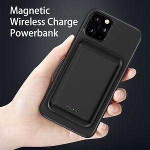 고품질 휴대 전화 자기 유도 충전 전원 은행 5000mAh 아이폰 12 Magsafe Qi 무선 충전기 PowerBank Type-C 충전식 휴대용 배터리