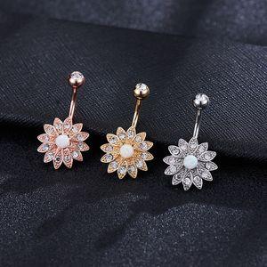 Europäische und amerikanische Sun Flower Micro-Intarsien Bauchn Ring Umbilical Nail Piercing Kupfer Schmuck