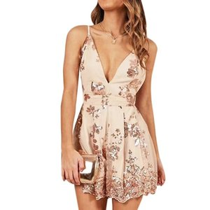 Women Fashion Backless Sexy Playsuits Casual Summer Sling V-neck Mini Rompers Women Print Loose Jumpsuit