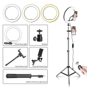 10Inch LED Selfie Ring Light With Tripod and Bluetooth Dimmable Phone Ring Lamp Photographic Lighting with Phone Holder for Live