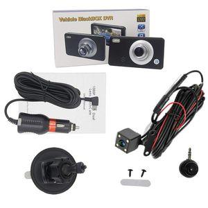 3 canales coche DVR que conduce el video de la leva del registrador de datos del vehículo 4 Full HD 1080p parte posterior del frente 360 ° rotativo de lente desmontable 170 ° 140 ° 120 ° Fov
