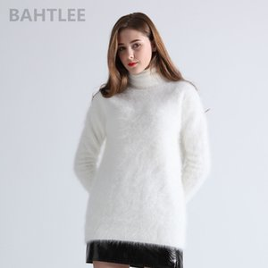 de BAHTLEE Mulheres Winter Angora Jumper gola capuz Knitting Sweater manga comprida Manter Warm White