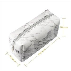 Marble Grain Portable PU Leather Wear Resistant Carry Pouch Makeup Bag Zipper Pencil Case Large Capacity Protective Waterproof