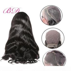 BD Grande dentelle perruques avant perruque de cheveux humains vague de corps humain malaisienne cheveux Acheter 24 Pouces Body perruques pour femmes Noir
