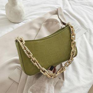 2021 Moda Zincir Omuz Çantası Lüks Çanta Ve Çantalar Kadınlar Için Tasarımcı Armpit Çanta Katı Taş Desen Lady El Çantası