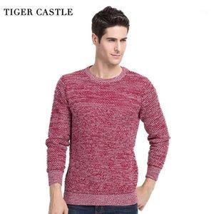 Tiger Castle Castle Casual O-Neck Mens Pullover Primavera Autunno Autunno Qualità Cashmere Lana Maglione Red Maglione Uomo Manica lunga Slim Fit Pull Knitwear1