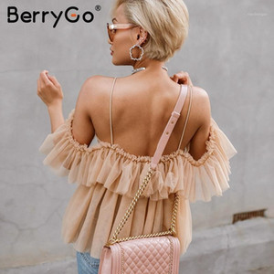 BerryGo Strap ruffles mesh blouse women shirt V neck off shoulder summer blouse tops Streetwear sexy peplum tops blusas 2020 new1