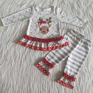 New Designer Kids Designer Clothing Girls Christmas Outfits Baby Girls Reindeer Embroidered Boutique Pajamas Set Wholesale ChildrenClothing