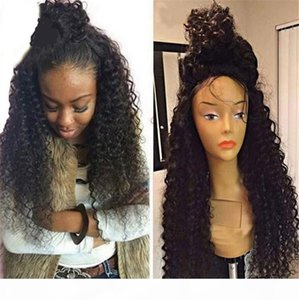 Afro Kinky Curly Full Lace Human Hair Wigs 180% Density 8A Malaysian Lace Front Human Hair Wigs 12-20""