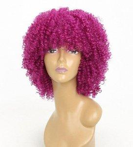 Красный Короткий парик для женщин Белый Черный Кудрявый Синтетический Afro партия Черный Блондинки Ложные волос парики Мода парики крашение Синтетические парики c7Rt #