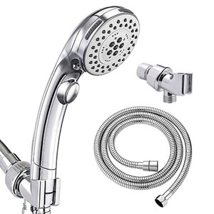 Rain button, hand-held wall mounted shower set, water stop and pressurization multi-function bathroom shower head, five functions